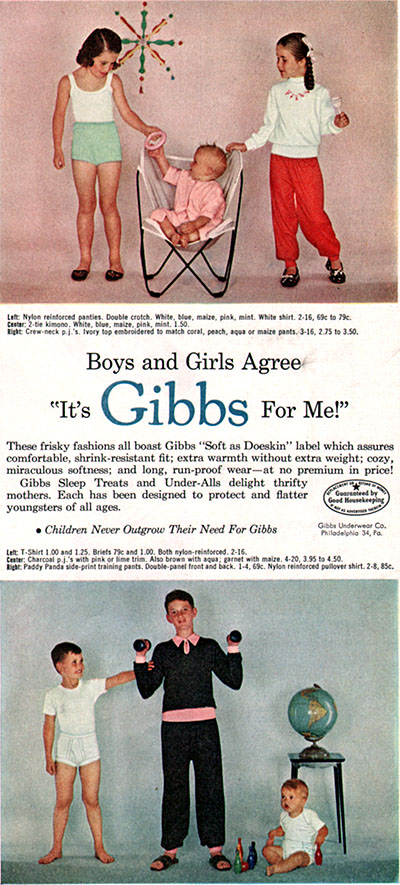Gibbs Boys Girls Underwear T Shirt Briefs Training Pants Pajamas 1955